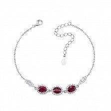 Серебряный браслет Натали с рубинами и фианитами