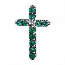 Золотой декоративный крестик Илиана с изумрудами и бриллиантом
