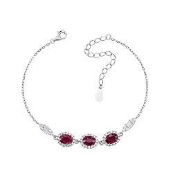 Серебряный браслет с рубинами и фианитами 000125671