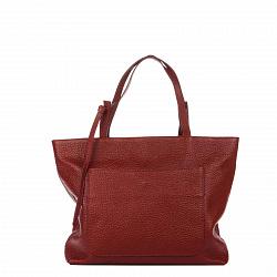 Кожаная деловая сумка Genuine Leather 8894 красного цвета на молнии, с накладным карманом на кнопке