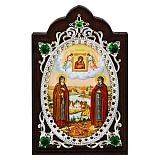 Серебряная икона с фианитами Петр и Февронья