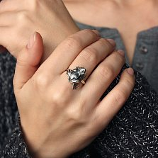 Серебряное кольцо Лягушка-квакушка с чернением и зелеными фианитами