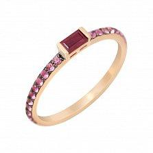 Золотое кольцо Вэйла с рубином и розовыми сапфирами