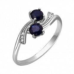 Серебряное кольцо Кометы с сапфирами и фианитами
