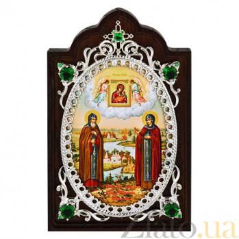 Серебряная икона с фианитами Петр и Февронья 2.78.0664