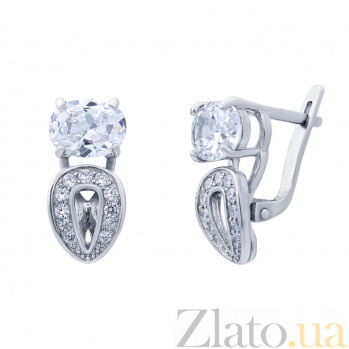 Серебряные серьги с цирконами Кристэл AQA--72009б