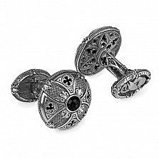 Серебряные запонки GOTHIC CLASSIC с ониксом