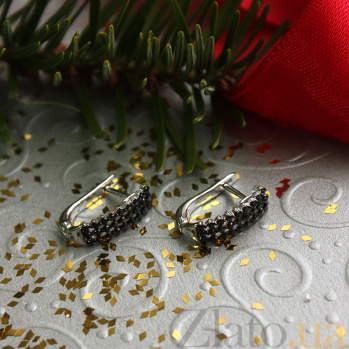 Золотые серьги с черными фианитами Эстрелья 000023043