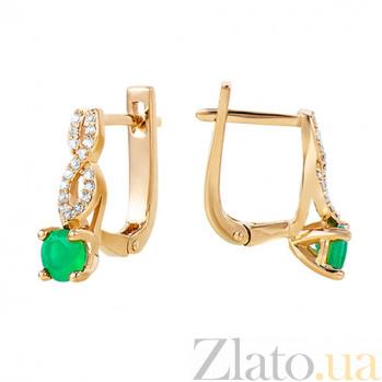 Золотые серьги с зелёным ониксом Асти 000013699