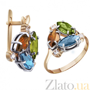 Золотое кольцо с топазом, цитрином и хризолитом Леди совершенство AUR--31616 08