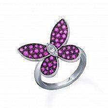 Серебряное кольцо Летний вечер с розовыми корундами и фианитами