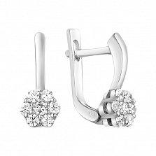 Серебряные серьги Нежная гардения с фианитами