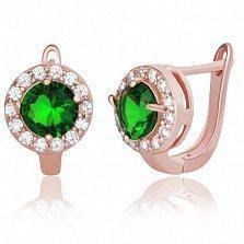 Серебряные серьги с зелеными фианитами Леона
