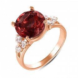 Кольцо из красного золота с гранатом и фианитами 000136747
