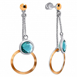 Серебряные серьги-подвески Круговая завеса с золотыми накладками и голубыми фианитами