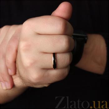 Золотое обручальное кольцо Дорога счастья с черной эмалью 000061653