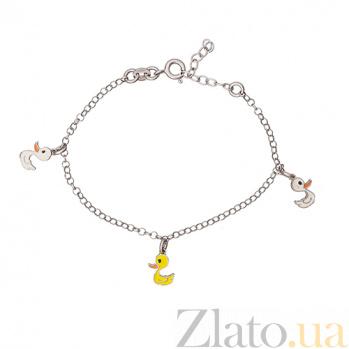 Серебряный браслет Утята с эмалью 000032591