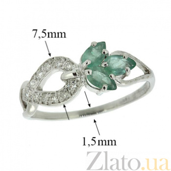 Серебряное кольцо Весенний росток с изумрудами и бриллиантами ZMX--RDE-6536-Ag_K