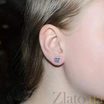 Серебряные серьги-пуссеты  Эпл с синим цирконием 2451/9р син цир
