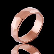 Мужское обручальное кольцо Океан в красном золоте