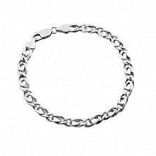 Серебряный браслет с объемными звеньями Александрия родированный, 5,5 мм, 21 см