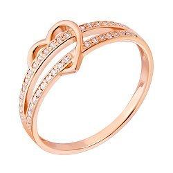 Кольцо из красного золота с сердечком и фианитами 000132185
