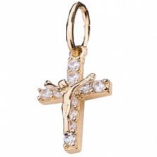 Детский золотой крестик Вера с фианитами