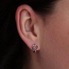 Серебряные серьги Сердечки с бордовой эмалью