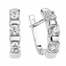 Классические серебряные серьги Мелисса с тремя кристаллами Swarovski