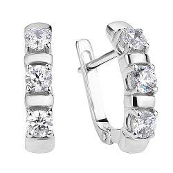 Классические серебряные серьги с фіанітами Swarovski 000106908