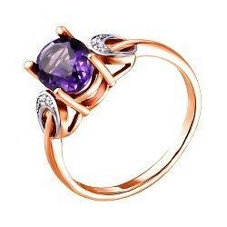 Кольцо из красного золота с аметистом и фианитами 000135809