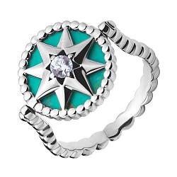 Серебряное кольцо Роза ветров с крутящейся вставкой из прессованной бирюзы и фианитом