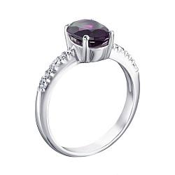 Серебряное кольцо Кристина с аметистом и фианитами