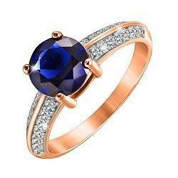 Серебряное кольцо с позолотой и фианитами 000052247
