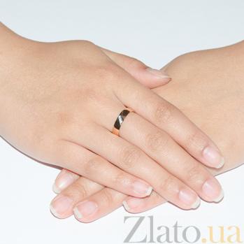 Обручальное кольцо из красного золота с фианитами Яркая классика 1089