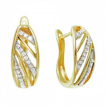 Серьги из желтого золота с бриллиантами 000081132