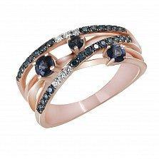 Кольцо из красного золота Даллас с сапфирами и бриллиантами