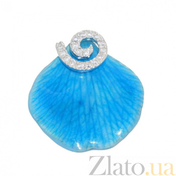 Серебряное кольцо с фианитами Лепесток голубой орхидеи 3К379-0002