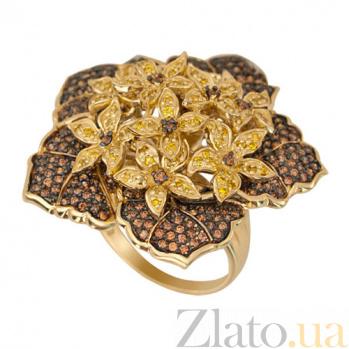 Кольцо из желтого золота Букет с фианитами VLT--ТТ1193