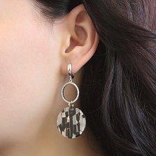 Серебряные серьги-подвески Джамалла с кольцами в белых фианитах и ювелирным стеклом
