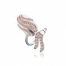 Кольцо на ноготь из серебра с позолотой и фианитами Огненная стихия