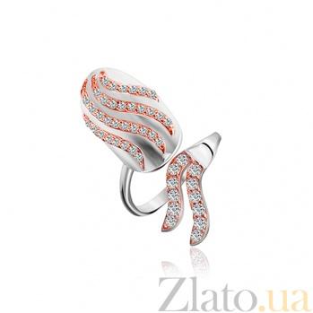 Кольцо на ноготь из серебра с позолотой и фианитами Огненная стихия 000028037