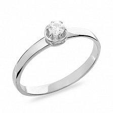 Золотое помолвочное кольцо Даме сердца в белом цвете с фианитом