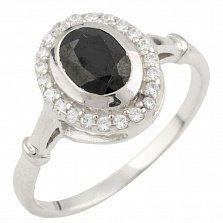 Серебряное кольцо Николина с сапфиром и фианитами