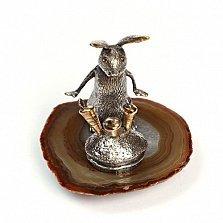 Серебряная статуэтка с позолотой Зайка с морковками