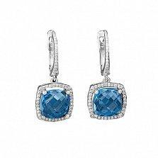 Золоые серьги-подвески Атлантик с голубыми топазами и бриллиантами