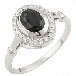 Серебряное кольцо с сапфиром и фианитами 000055531