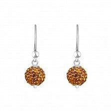 Серебряные серьги-подвески в форме шаров Блеск с теплыми желтыми кристаллами Swarovski