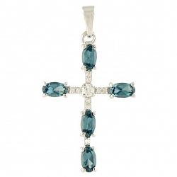 Серебряный крестик Элвина с нанотопазом лондон и фианитами