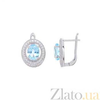 Серебряные серьги с топазом Аманда AQA--E00812T
